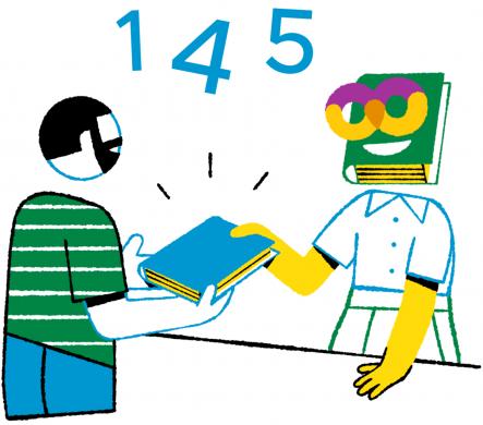 Cartoon met het logo van het bibliotheeksysteem Wise