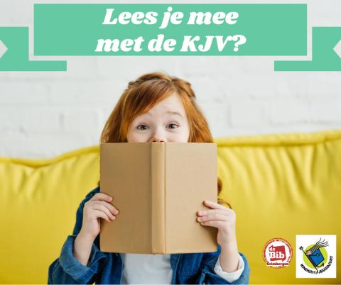 meisje met boek en banner: Lees je mee met de KJV?