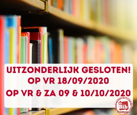 foto van boekenrek met melding over de uitzonderlijke sluiting bib Grimbergen